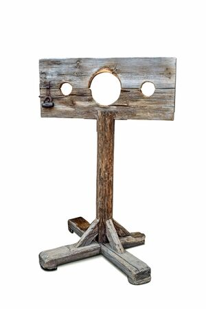 wooden old device for execution in prison isolated white background