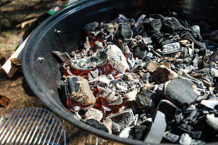charcoal smoke preparing kebab  barbecue summer day weekend
