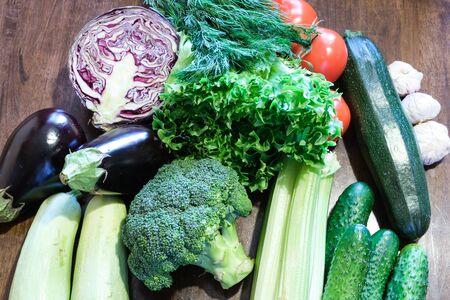 variety green fresh vegetables ready make healthy food