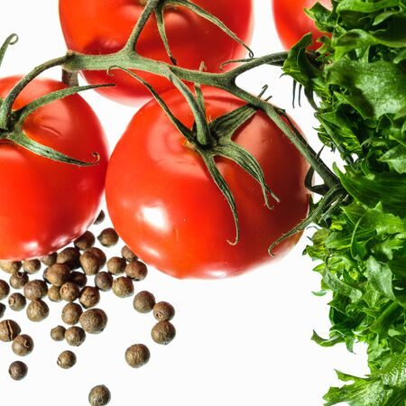 fresh green salad red tomato papper isolated on white background