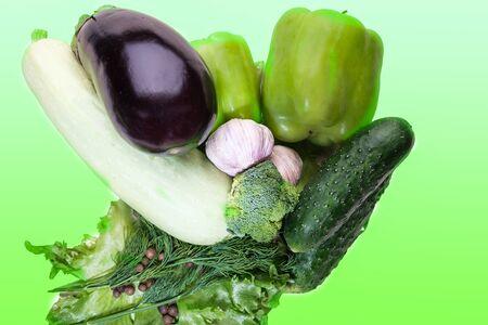 fresh eggplant squash zucchini garlic cucumber paprika izolated on white background