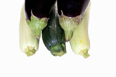 fresh eggplant squash zucchini izolated on white background
