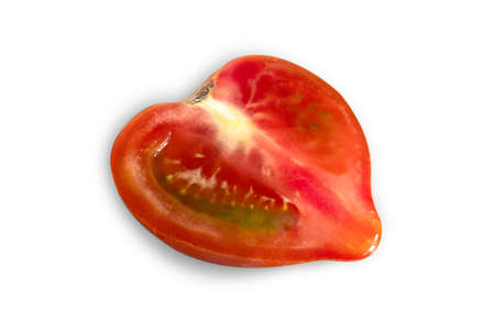cut red fresh half tomato isolated on white background