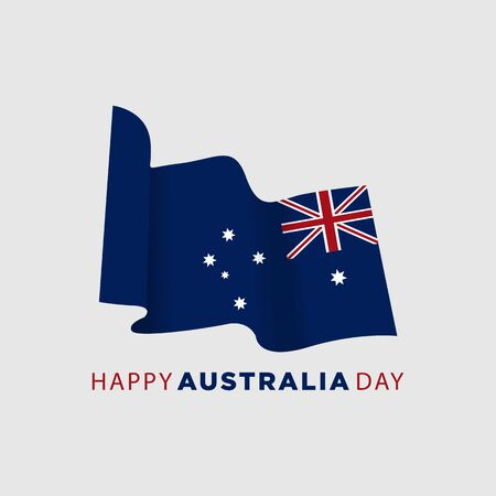 Happy Australia day 26 January (independence day). Flag of Australia on isolated background. Can used for Greeting card, poster, banner concept, flayer, social media. Vector illustration. Vectores