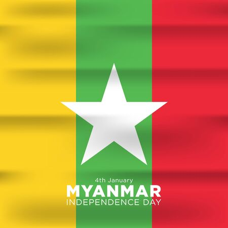 Celebrating Myanmar Independence Day (Burmese Days) 4 January. Vector of National Day with Myanmar flags. Vector Illustration