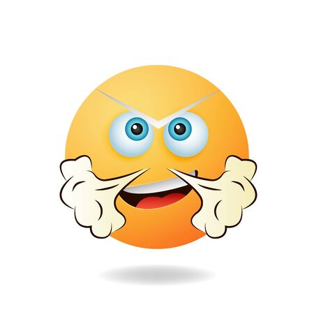 Emoticon character - Charming picture of emoticon mascot design concept with angry expression. Mascot logo design