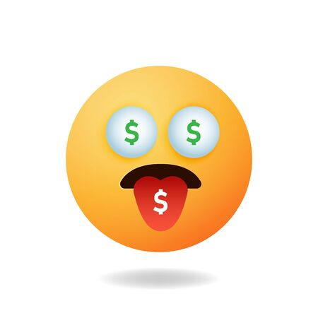 Emoticon character - Cartoon design concept of emoticon with expression of money dependency. Mascot logo design Illustration