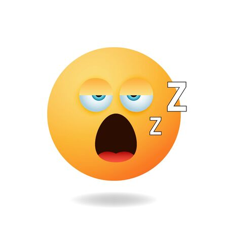 Emoticon character - Cartoon design concept of emoticon with sleep expression. Mascot logo design Illustration