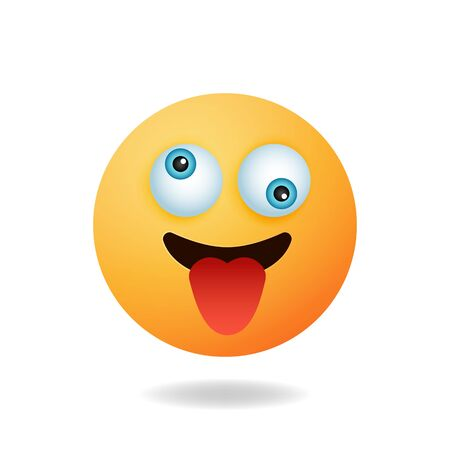 Emoticon character - Cute emoticon cartoon characters with crazy expression. Mascot logo design