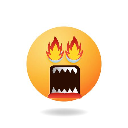 Emoticon character - A picture of emoticon cartoon design style with angry expression. Mascot logo design
