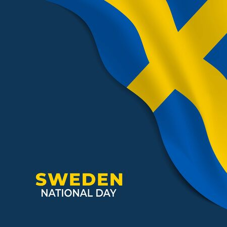 Sweden National Day. Celebrated annually on June 6 in Sweden. Happy national holiday of freedom. Swedish flag. Can used for Patriotic poster, greeting card, banner, flyer design. Vector illustration