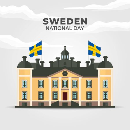 Sweden National Day. Celebrated annually on June 6 in Sweden. Happy national holiday of freedom. Swedish flag. Patriotic poster design. Vector illustration Иллюстрация