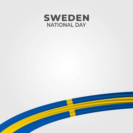 Sweden National Day. Celebrated annually on June 6 in Sweden. Happy national holiday of freedom. Sweden flag. Patriotic poster design. Vector illustration Иллюстрация