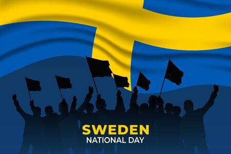 Sveriges nationaldag (Translate: Sweden National Day) is the Sweden National Day and Republic Day, which is celebrated on 6 June each year. vector illustration