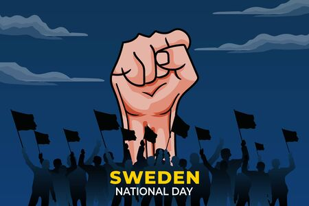 Sveriges nationaldag (Translate: Sweden National Day). Happy national holiday. Celebrated annually on June 6 in sweden. Sweden flag. Patriotic poster design. Vector illustration