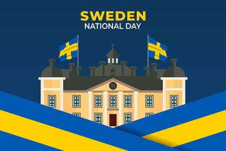 Sweden National Day. Celebrated annually on June 6 in Sweden. Happy national holiday of freedom. Sweden flag. Patriotic poster design. Vector illustration Illusztráció