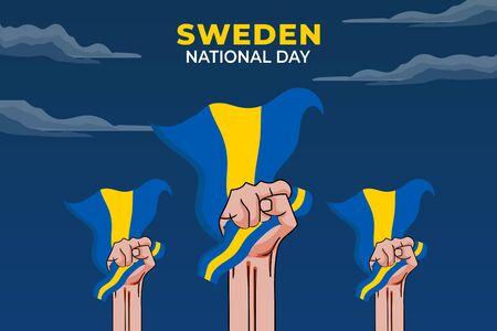 Vector illustration of Sveriges nationaldag. Sweden National Day. vector illustration