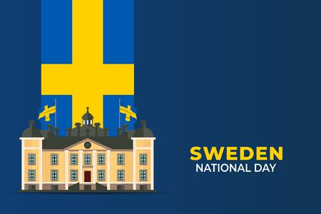 National Day of Sweden (Swedish: Sveriges nationaldag). Celebrated annually on June 6 in Sweden. vector illustration
