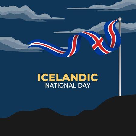 National Day of Iceland (Iceland: Þjóðhátíðardagurinn, the day of the nation's celebration). Celebrated annually on June 17 in Iceland. vector illustration