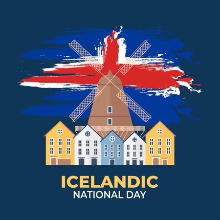 Icelandic National Day. Celebrated annually on June 17 in Iceland. Happy national holiday of freedom. Iceland flag. Patriotic poster design. Vector illustration