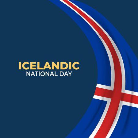 Þjóðhátíðardagurinn Icelandic (Translate: Iceland National Day). Happy national holiday. Celebrated annually on June 17 in Iceland. Iceland flag. Patriotic poster design. Vector illustration