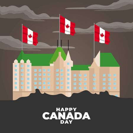 Fete du Canada (Translate: Canada day). Happy national holiday. Celebrated annually on July 1 in Canada. Canada flag. Patriotic poster design. Vector illustration