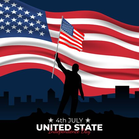 Happy Independence Day United States. Celebrated annually on July 4 in America. Happy national holiday of freedom. American flag. Patriotic poster design. Vector illustration