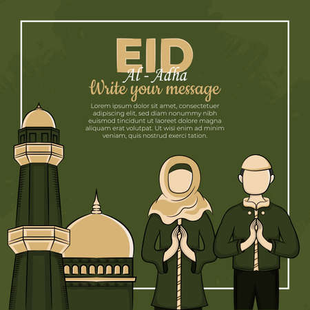 Eid al-Adha Greeting Cards with Hand drawn muslim people and mosque in Green Grunge Background. vector illustration
