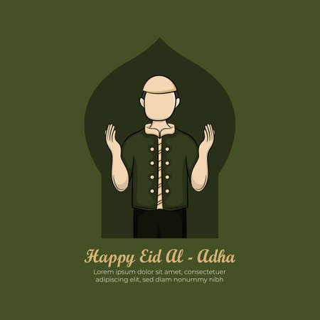 Eid al-adha Greeting Card with Hand drawn Muslim People on Green Grunge Background. Vector Illustration