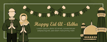 Eid al-adha banner template with Hand drawn Muslim People, Mosque, Lantern and islamic ornament in Green Grunge Background. Vector Illustration