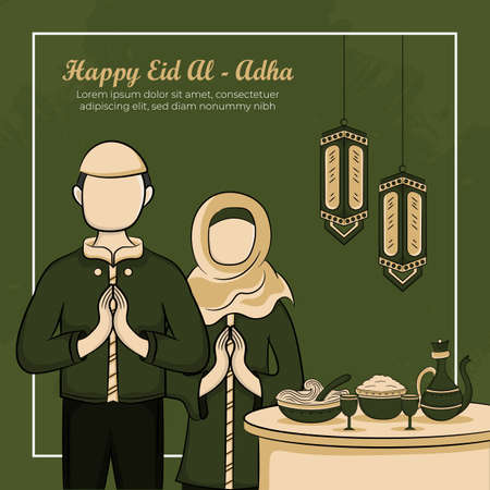 Eid al-adha Greeting Cards with Hand drawn of Muslim People and  Islamic Food in Green Grunge Background. Vector Illustration