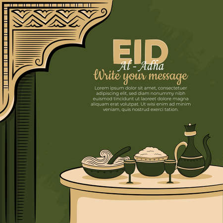 Eid al-adha Greeting Cards with Hand drawn Muslim Food and islamic ornament in Green Grunge Background. Vector Illustration