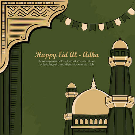 Eid al-Adha Greeting Cards with Hand drawn mosque in Green Grunge Background. vector illustration
