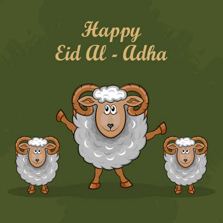 Eid al-Adha Greeting Cards with Hand drawn sheep in Green Grunge Background. vector illustration