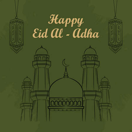 Mosque and lantern Sketch Illustration for Eid al-adha (Eid Mubarak) with Grunge Background and Arabic text. vector illustration
