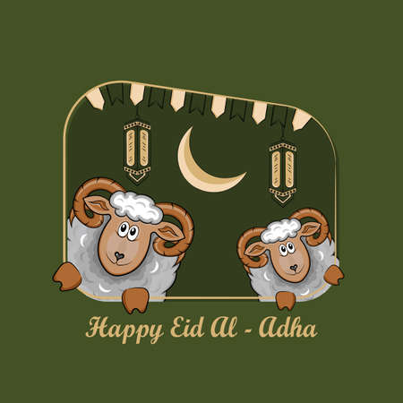 Eid al-Adha Greeting Cards with Hand drawn sheep and lanterns in Green Grunge Background. vector illustration