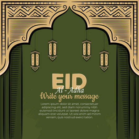 Eid al-adha Greeting Cards with Hand drawn lantern in Green Grunge Background. Vector Illustration