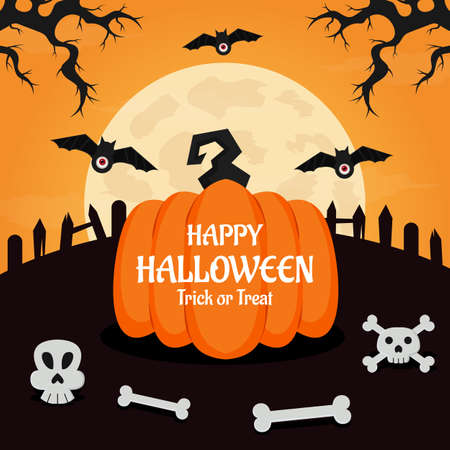 Flat design halloween background. Vector Illustration Vector Illustratie