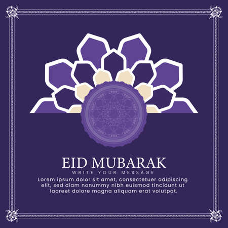 Eid mubarak design with Islamic ornaments. Can be used for greeting cards, banners, backgrounds and templates. vector illustration