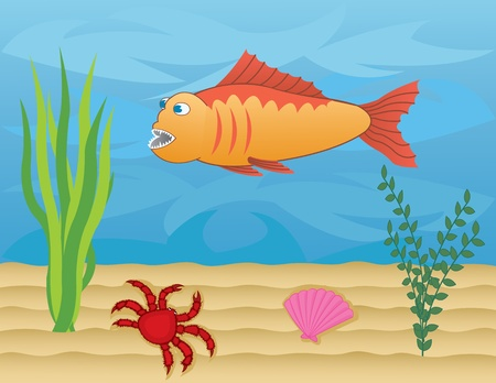 clam illustration: fish and crab on the sea floor