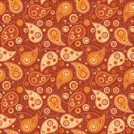 seamless pattern with paisley and flowers Vector