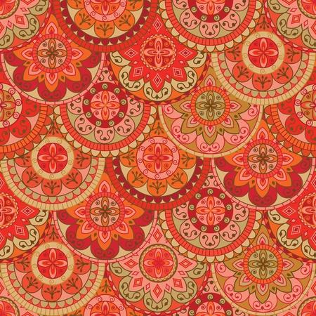 レトロな色のついた丸とのシームレスなパターン
