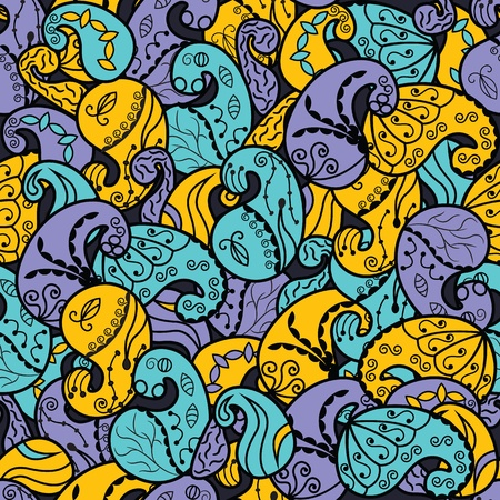 east indians: abstract pattern from paisley in three colors