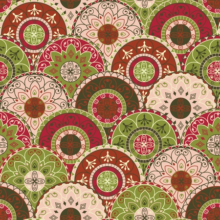 seamless pattern with circles in retro style Illustration