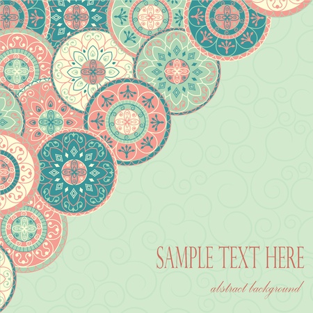 card in pastel colors on the background with swirls