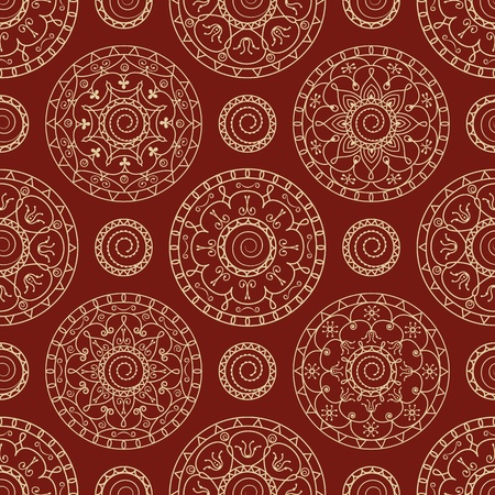 seamless abstract wallpaper with circles on a red background Vector