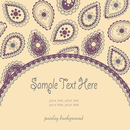 Greeting card with paisley background Vector