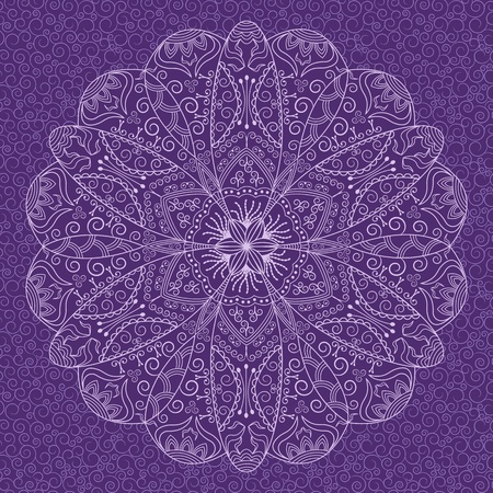 Decorative round lace pattern on background with swirls Vector