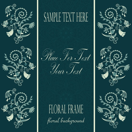 Frame with floral ornament and lace background Vector