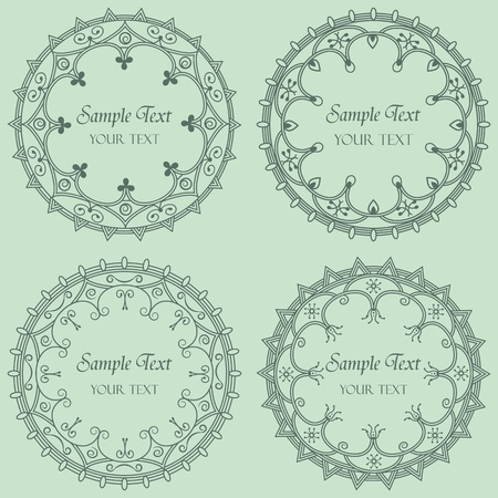 set of four round frame Illustration